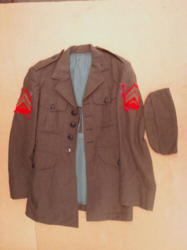 USMC MARINE CORPS JACKET Coat with hat cap,*no belt,serge,green,united states,usMarine Corps - 66531