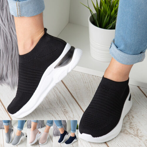 Ladies Sock Wedge Trainers Womens Sneakers Slip On Classic Jogging Pumps Shoe