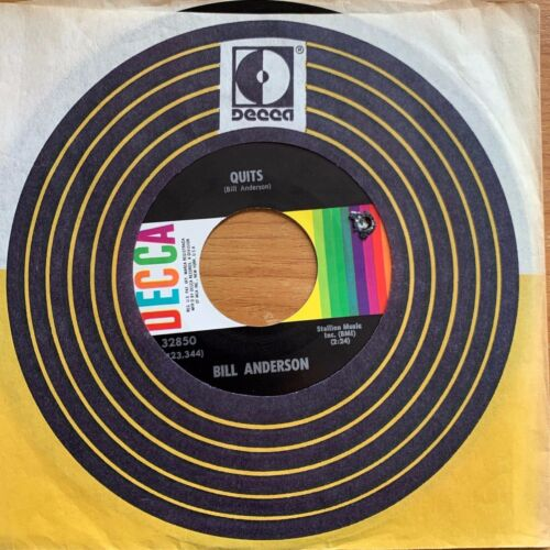 """Bill Anderson - Quits // 7"""" - 1. US-Pressing 1971 - TOP condition"""