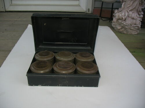 Set Of 6 WWI Original U.S. Army Spice Tins In Original Carrier In VG ConditionPersonal, Field Gear - 13974