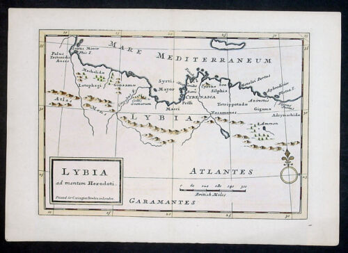 1764 Herman Moll & Carrington Bowles Antique Map North Africa & Southern Europe