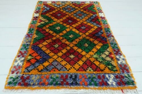 """Anatolia Turkish Nomads (Shaggy) Carpet Long Hair Rug Red Green Color34,6""""x49,2"""""""