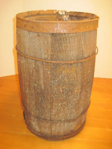 C-1 OLD WOOD-WOODEN NAIL BARREL KEG WESTERN COUNTRY DECOR PLANTER STAND