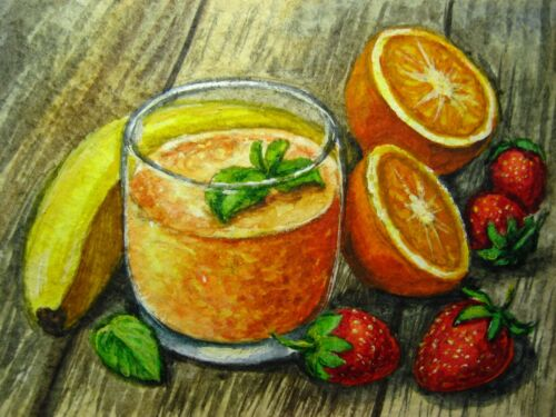 Watercolor Painting Fruit Smoothie Glass Drink Strawberry Banana Orange ACEO Art
