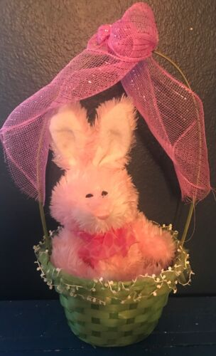 Primitive Spring/ Easter Green Basket W/ Soft Pink Fuzzy Bunny With Pink Ribbons
