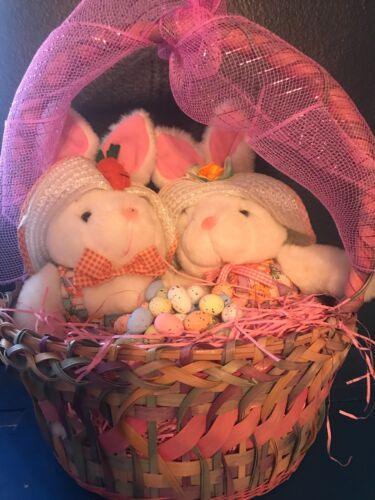 Primitive Spring/ Easter Basket With Pair Of Bunnies With Pink Ribbon And Eggs
