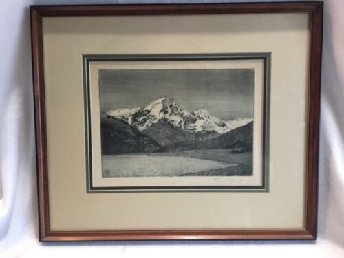 Old Etching German Mountain Signed Listed Artist ? Wohlgemuth & Lissner Berlin