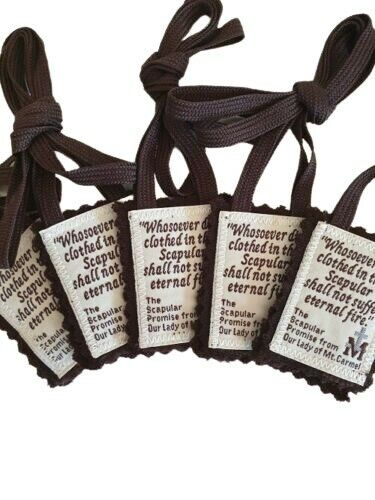 5 Brown Scapulars of Our Lady 100% Woven Wool with Leaflets