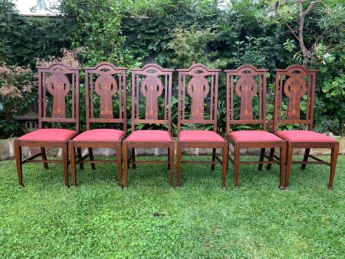 Art Nouveau Oak Dining Chairs (6) c.1910