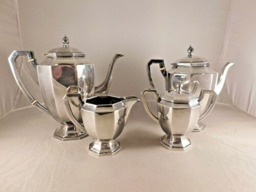 VINTAGE 4 PIECE ASIAN 950 STERLING SILVER TEA & COFFEE SET MID CENTURY MODERN
