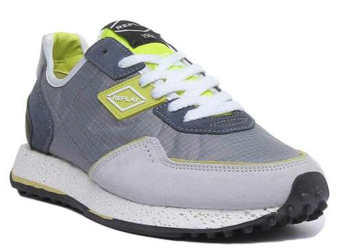Replay Tag81 Men Suede Mesh Trainers In Grey Size UK 6 - 12
