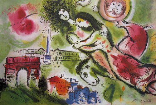 Marc CHAGALL Romeo and Juliet Lovers Facsimile Signed Art Print 23 x 35-1/2