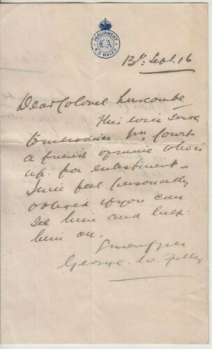 WW1 George Fuller politician Parliament NSW 1916 letter to Colonel Luscombe