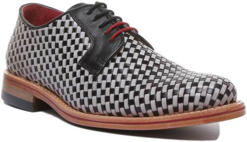 Justin Reece Torin Mens Woven Leather Formal Shoes In Black White UK Size 6 - 12