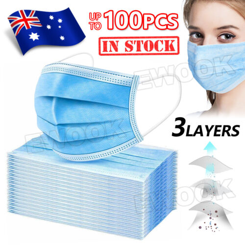 Face Mask Protective 3 Layer Mouth Masks Filter Ship From Sydney in Stock Now AU