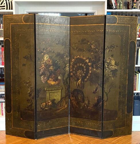 Stunning Vintage European, hand painted on leather, screen / divider 1930s-40s