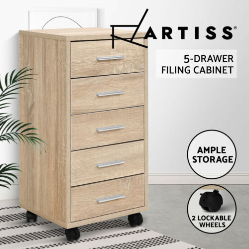 5 Drawer Filing Cabinet Storage Drawers Wood Study Office School File Cupboard <br/> ✔Lockable wheels✔Five spacious drawers✔Slimline design