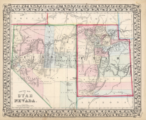 """1871 S.A. Mitchell """"County Map of Utah and Nevada""""- Original"""