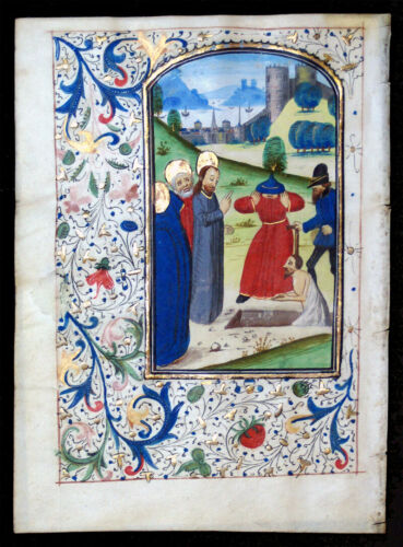 ILLUMINATED MANUSCRIPT BOOK OF HOURS LEAF, c. 1475, RAISING OF LAZARUS