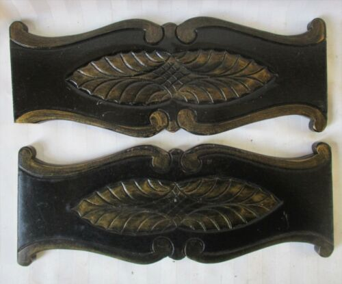 "LOT of 2 FEATHER CARVED WOOD CRESTS PANELS CHAIR SPLATS  12"" X 4 3/4"""