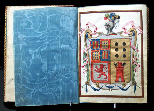 c 1788 SPANISH ILLUMINATED MANUSCRIPT HERALDIC PEDIGREE AND ARMS, BOUND
