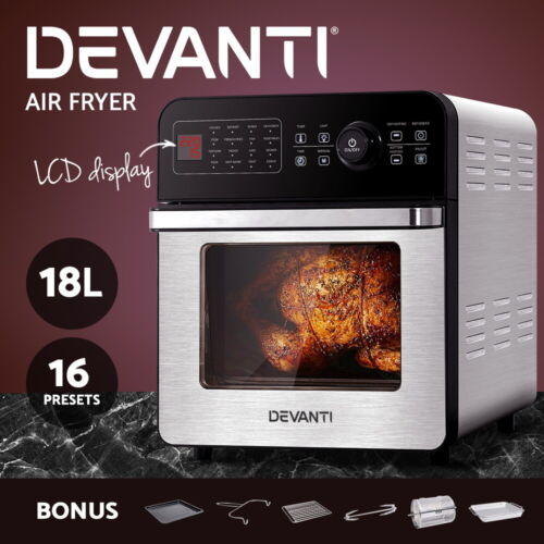 Devanti Air Fryer 18L Airfryer Oil Free Fryers Deep Frying Cooker Accessories <br/> ✔18L Capacity ✔Stainless Steel ✔LCD Control ✔1700W