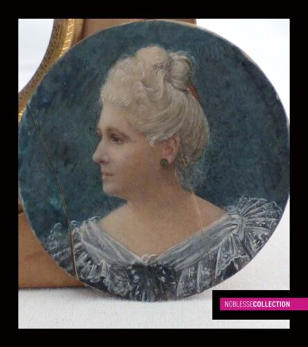 ANTIQUE EARLY 1900s FRENCH SCHOOL MINIATURE PAINTING WATERCOLOR Portrait woman  <br/> FREE SHIPPING WITH FEDEX WHICH STILL SHIPS WORLDWIDE!!