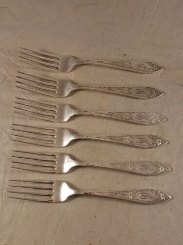 LOT of 6 VINTAGE STIEFF LADY CLAIRE STERLING SILVER DINNER FORKS