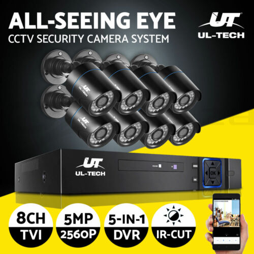 UL-tech CCTV 5MP PRO Security Camera System 8CH 5in1 DVR Home Outdoor Day Night
