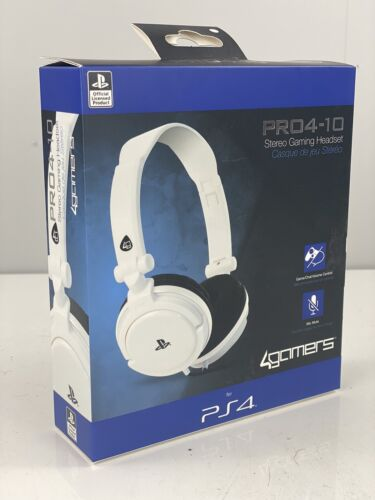 Pro 4-10 Stereo Gaming PS4 Headset - White - Adjustable - FREE / FAST SHIPPING