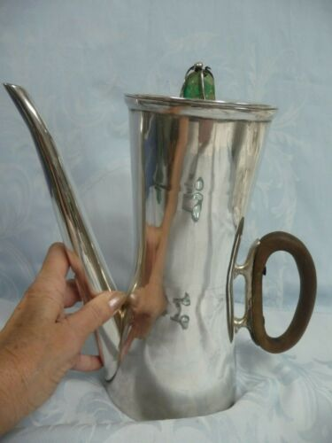 MID-CENTURY MEXICAN STERLING LOS CASTILLO COFFEE/CHOCOLATE POT, TURQUOISE FINIAL