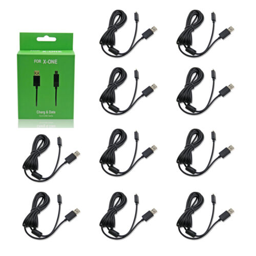 Wholesale Lot of 10 Xbox One Black USB Controller Charge Cable Hexir New 6'