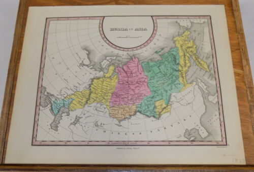 1827 Antique COLOR Finley Map of RUSSIA IN ASIA