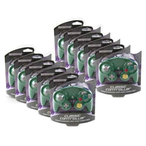 Wholesale Lot of 10 GameCube GREEN-BLUE Rumble Controller Pad Teknogame (Wii)