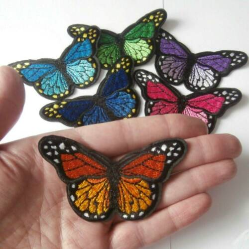 2*butterfly Iron On Patch Embroidered Badge Bugs Insect Butterflies Patches Kid.