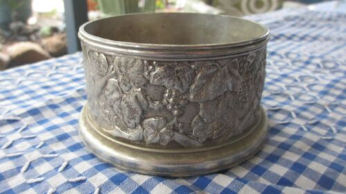 Vintage Silver Plated Wine Bottle Coaster made in Italy design in base