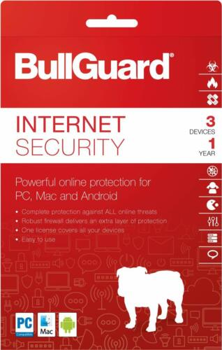 BULLGUARD SECURITY SOFTWARE FOR 3 COMPUTERS FOR 12 MONTHS NEW