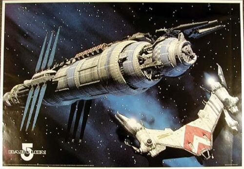 """Vintage Babylon 5 Spaceship Poster from Germany  23""""x34""""  ROLLED"""