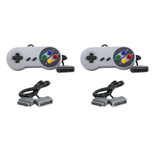 New SNES - 2 Famicom Style Gamepad & 2 6' Controller Extension Cable Bundle