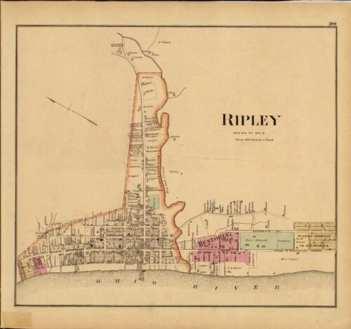 1877 map Atlas Upper Ohio River land ownership Ripley Brown County 130