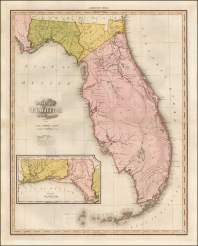 Very early Map Florida Tanner 1825 Spanish Land Grants POSTER REPRINT 53405