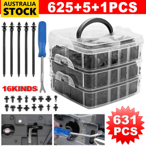 631PC Car Body Trim Clips Retainer Bumper Auto Plastic Rivet Screw Fastener Kit