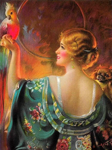 Beautiful Blond Lady with Parrot Bird by Gene Pressler