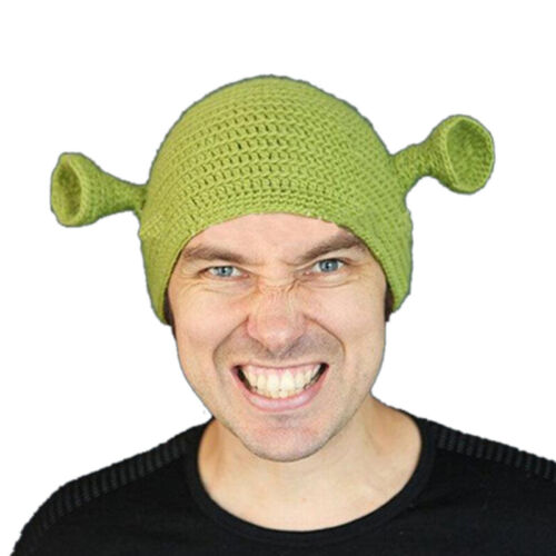Unisex Balaclava Monster Shrek Wool Winter Knitted Hats Green Party Funny  nW
