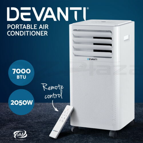 Devanti Portable Air Conditioner Cooling Mobile Fan Cooler Dehumidifier 2kw <br/> Remote Control / Timer / Energy Saving / 2050W