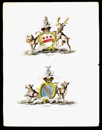 Hereford & Montague 1790  Catton Lithograph British Heraldry Coat of Arms