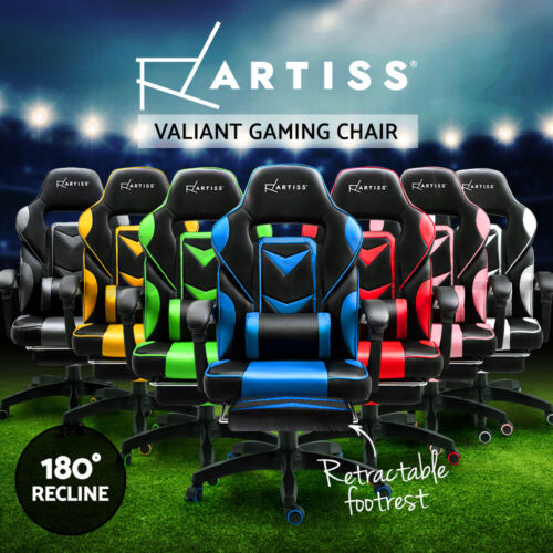 Artiss Gaming Office Chair Racing Executive Footrest Computer Seat PU Leather <br/> Black / Grey / Yellow / Blue / Red / Green/ White/ Pink