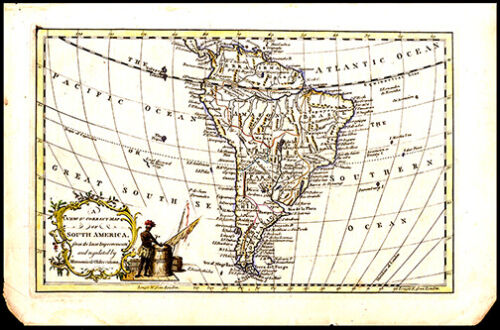18th C Copper Plate Engraved Map of South America Maker Unknown Lovely Cartouche