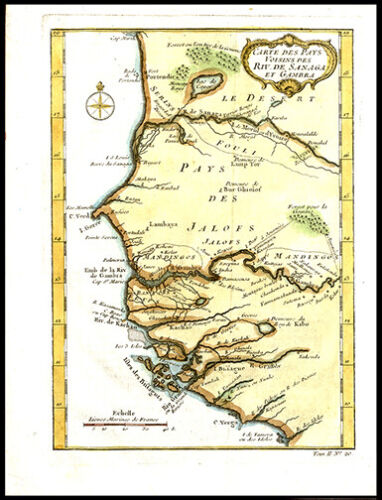 1747 Jacques Bellin Copper Plate Engraved Map of W Africa Senegal & Gambia River