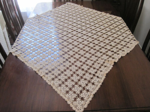BEAUTIFULLY HAND WORKED ECRU  CROCHET LACE SQUARE TABLECLOTH